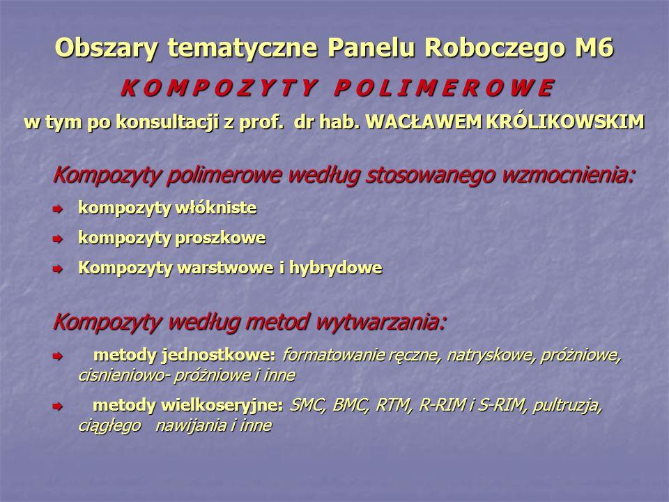 Obszary tematyczne Panelu Roboczego M6 K O M P O Z Y T Y P O L I M E R O W E w tym po konsultacji z prof. dr hab. WACŁAWEM KRÓLIKOWSKIM Kompozyty poli