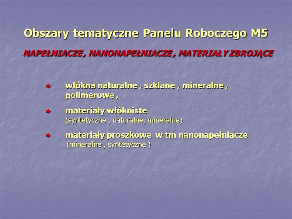 Obszary tematyczne Panelu Roboczego M5 NAPEŁNIACZE, NANONAPEŁNIACZE, MATERIAŁY ZBROJĄCE włókna naturalne, szklane, mineralne, polimerowe, włókna naturalne, szklane, mineralne, polimerowe, materiały włókniste (syntetyczne, naturalne, mineralne) materiały włókniste (syntetyczne, naturalne, mineralne) materiały proszkowe w tm nanonapełniacze materiały proszkowe w tm nanonapełniacze (mineralne, syntetyczne ) (mineralne, syntetyczne )