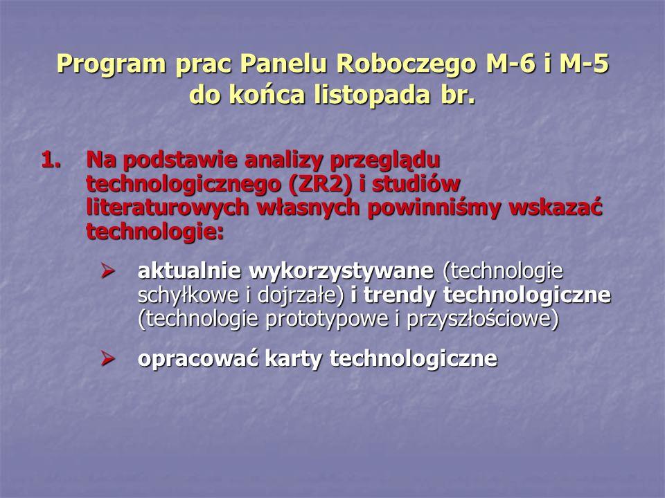 Program prac Panelu Roboczego M-6 i M-5 do końca listopada br. 1.Na podstawie analizy przeglądu technologicznego (ZR2) i studiów literaturowych własny