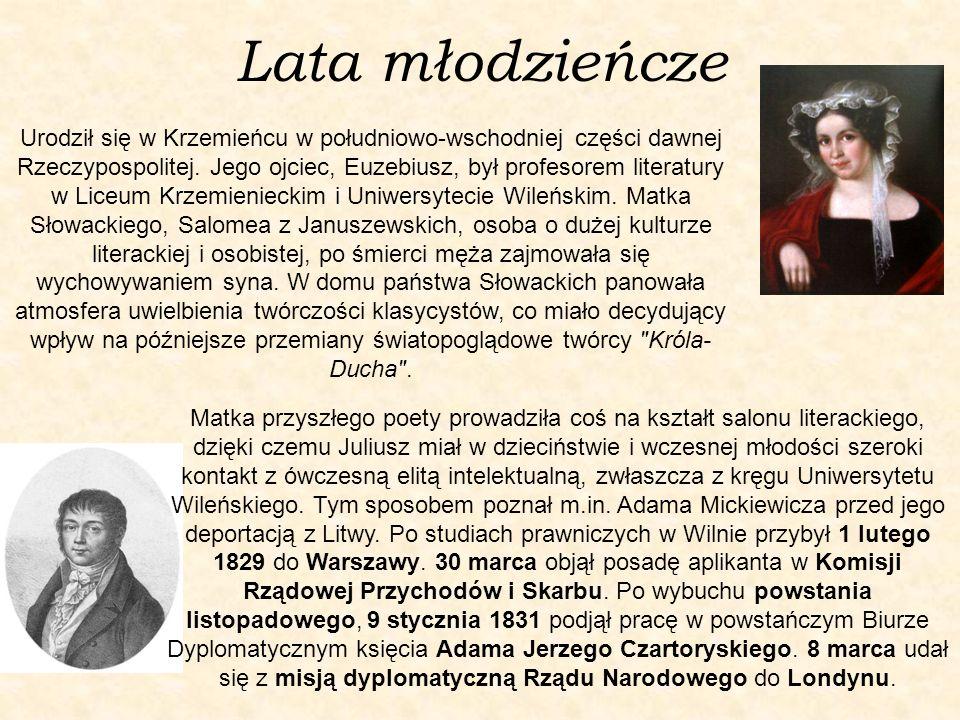 Lata młodzieńcze Urodził się w Krzemieńcu w południowo-wschodniej części dawnej Rzeczypospolitej. Jego ojciec, Euzebiusz, był profesorem literatury w