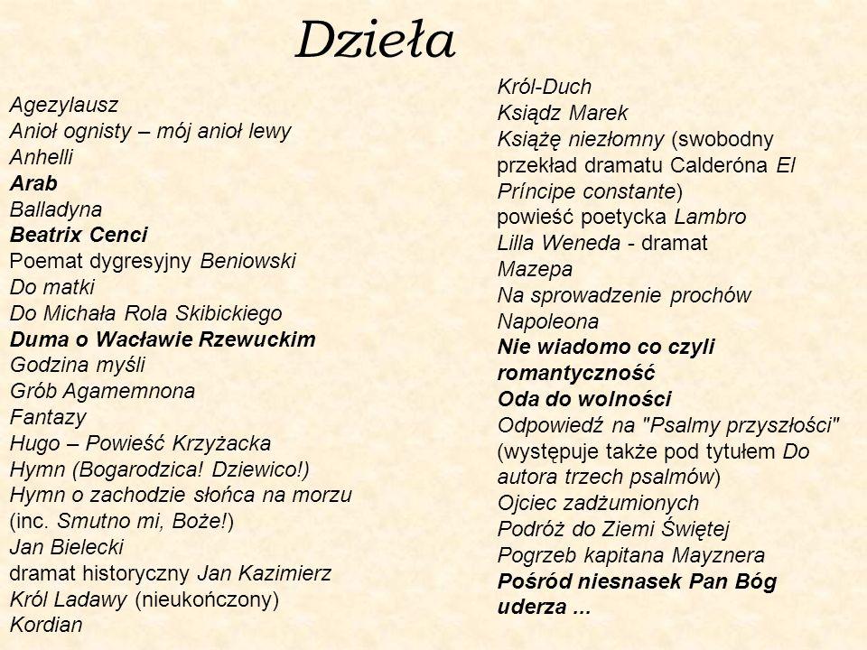 Dzieła Agezylausz Anioł ognisty – mój anioł lewy Anhelli Arab Balladyna Beatrix Cenci Poemat dygresyjny Beniowski Do matki Do Michała Rola Skibickiego