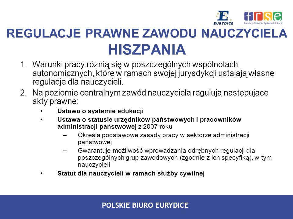POLSKIE BIURO EURYDICE 1.Warunki pracy różnią się w poszczególnych wspólnotach autonomicznych, które w ramach swojej jurysdykcji ustalają własne regul