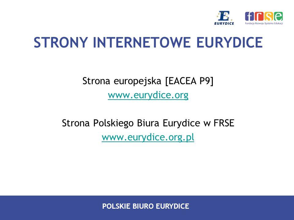 POLSKIE BIURO EURYDICE STRONY INTERNETOWE EURYDICE Strona europejska [EACEA P9] www.eurydice.org Strona Polskiego Biura Eurydice w FRSE www.eurydice.o