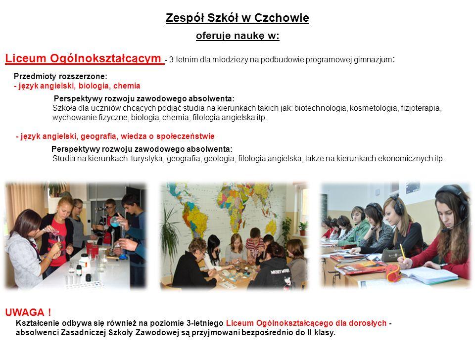 Zespół Szkół w Czchowie oferuje naukę w: Liceum Ogólnokształcącym - 3 letnim dla młodzieży na podbudowie programowej gimnazjum : Przedmioty rozszerzon