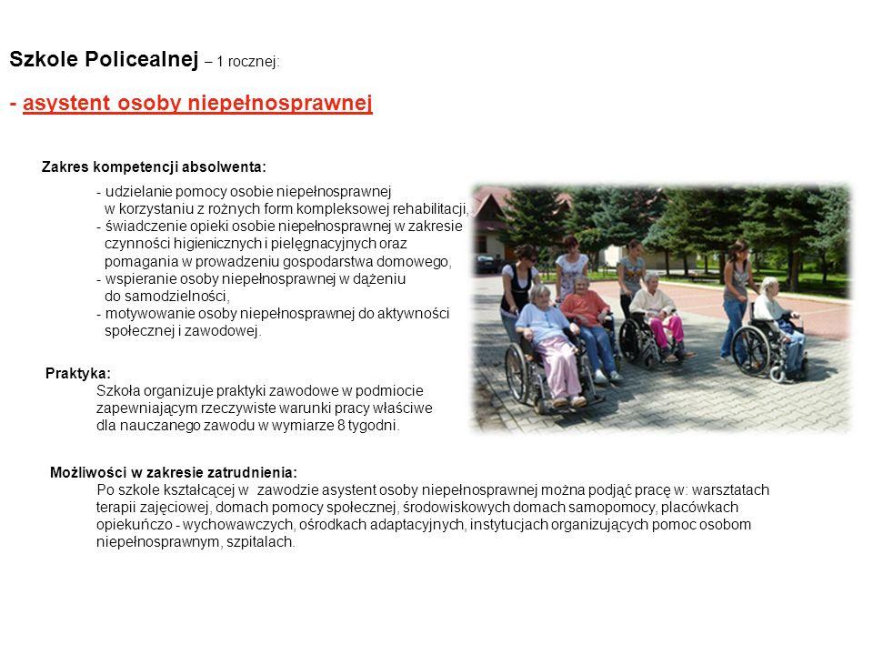 Szkole Policealnej – 1 rocznej: - asystent osoby niepełnosprawnej Zakres kompetencji absolwenta: - udzielanie pomocy osobie niepełnosprawnej w korzyst