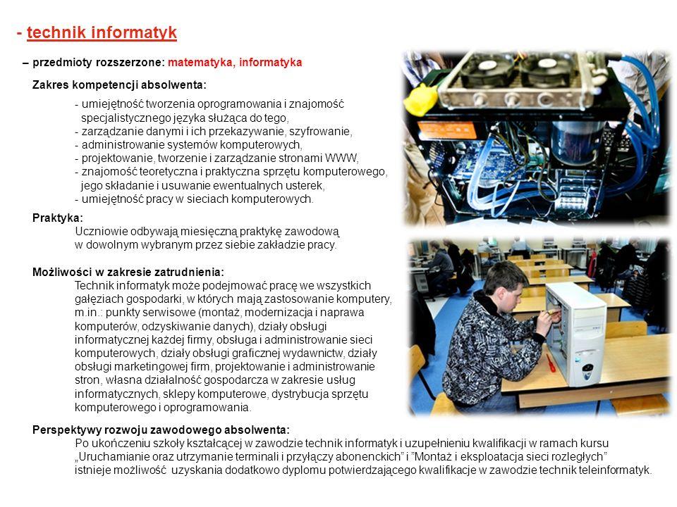 - technik informatyk – przedmioty rozszerzone: matematyka, informatyka Zakres kompetencji absolwenta: - umiejętność tworzenia oprogramowania i znajomo
