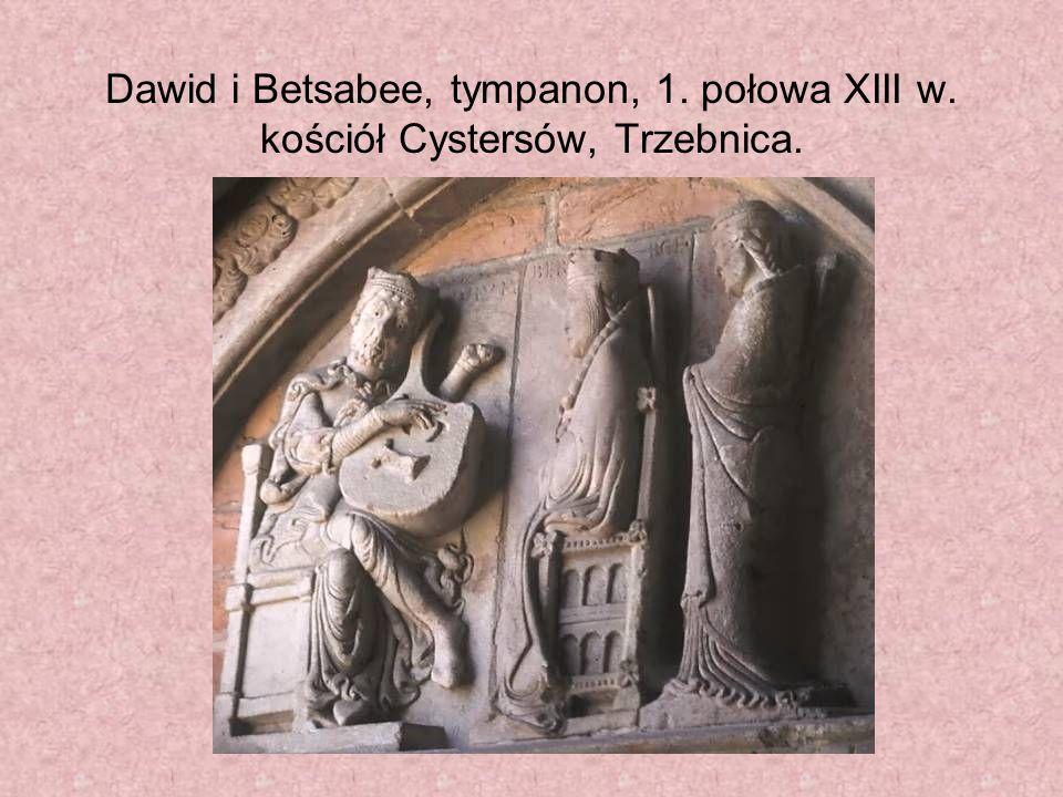 Dawid i Betsabee, tympanon, 1. połowa XIII w. kościół Cystersów, Trzebnica.