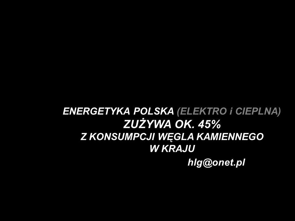 hlg@onet.pl ENERGETYKA POLSKA (ELEKTRO i CIEPLNA) ZUŻYWA OK. 45% Z KONSUMPCJI WĘGLA KAMIENNEGO W KRAJU