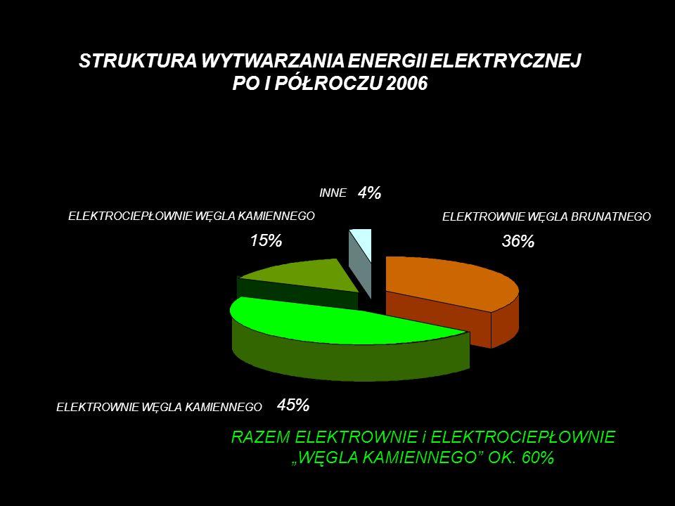 STRUKTURA WYTWARZANIA ENERGII ELEKTRYCZNEJ PO I PÓŁROCZU 2006 ELEKTROCIEPŁOWNIE WĘGLA KAMIENNEGO 15% ELEKTROWNIE WĘGLA BRUNATNEGO 36% ELEKTROWNIE WĘGL
