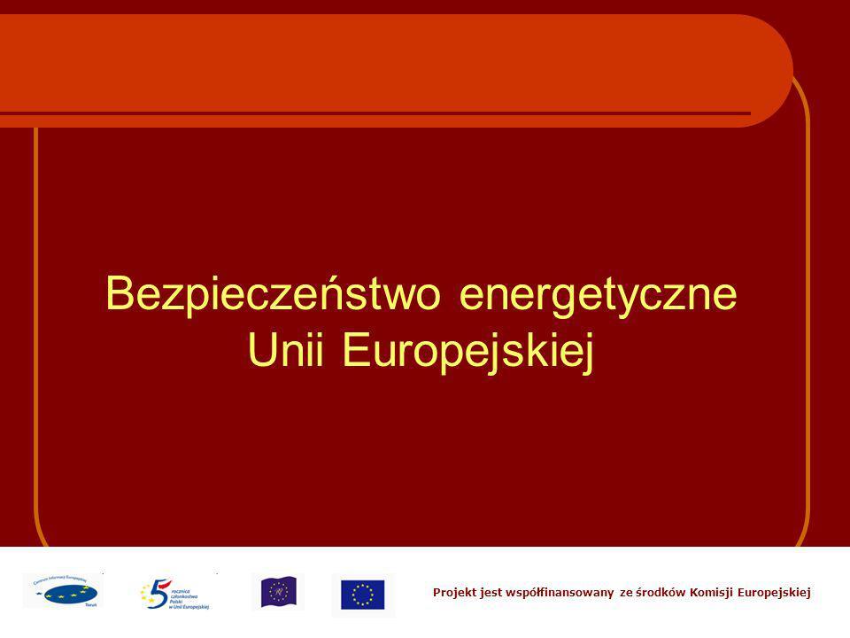 Projekt jest współfinansowany ze środków Komisji Europejskiej Bezpieczeństwo energetyczne Unii Europejskiej