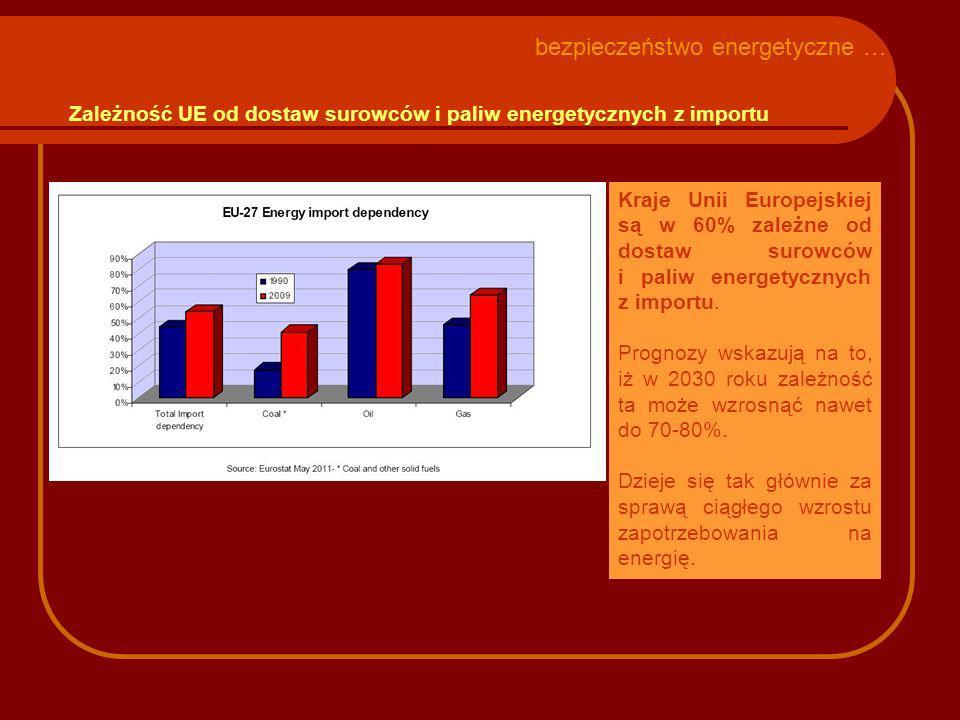 Zależność UE od dostaw surowców i paliw energetycznych z importu Kraje Unii Europejskiej są w 60% zależne od dostaw surowców i paliw energetycznych z importu.