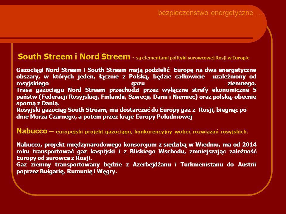 South Streem i Nord Streem - są elementami polityki surowcowej Rosji w Europie Gazociągi Nord Stream i South Stream mają podzielić Europę na dwa energetyczne obszary, w których jeden, łącznie z Polską, będzie całkowicie uzależniony od rosyjskiego gazu ziemnego.
