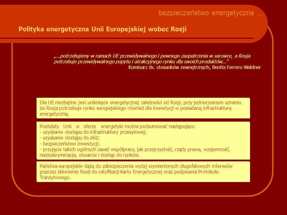 Postulaty Unii w sferze energetyki można podsumować następująco: - uzyskanie dostępu do infrastruktury przesyłowej; - uzyskanie dostępu do złóż; - bez