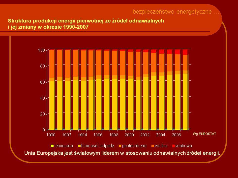 Struktura produkcji energii pierwotnej ze źródeł odnawialnych i jej zmiany w okresie 1990-2007 bezpieczeństwo energetyczne … Unia Europejska jest świa
