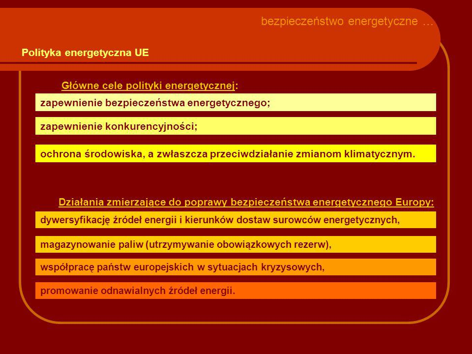 Główne cele polityki energetycznej: zapewnienie bezpieczeństwa energetycznego; zapewnienie konkurencyjności; ochrona środowiska, a zwłaszcza przeciwdziałanie zmianom klimatycznym.
