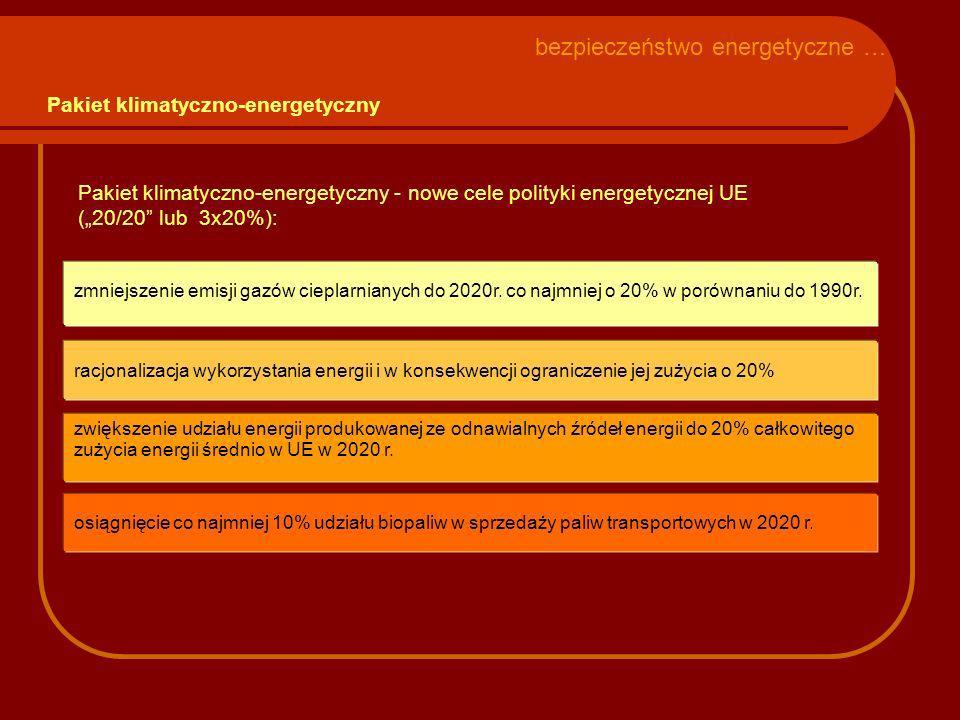 osiągnięcie co najmniej 10% udziału biopaliw w sprzedaży paliw transportowych w 2020 r. zmniejszenie emisji gazów cieplarnianych do 2020r. co najmniej
