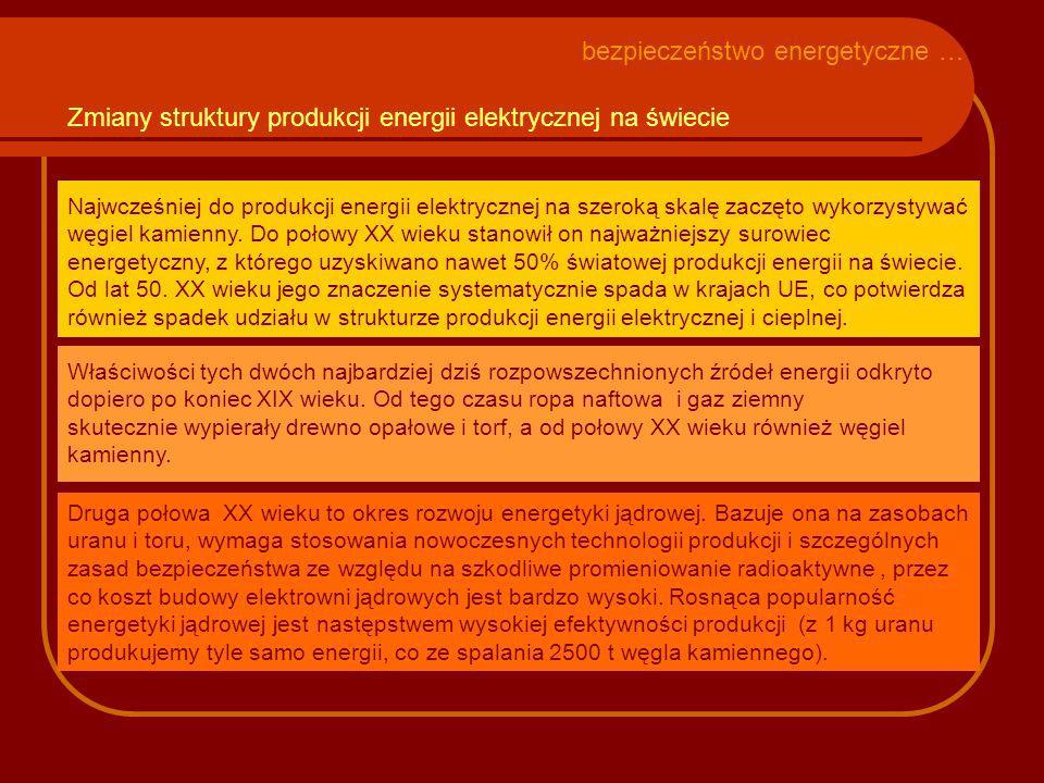 Udokumentowane zasoby surowców energetycznych na świecie i ich wystarczalność przy obecnym poziomie zużycia surowce zasoby (mld toe 1 ) % wystarczalność (lata) ogółem787,8100,084 węgiel469,359,6158 ropa naftowa159,620,341 gaz ziemny158,820,163 1.ilość surowca wyrażona w potencjale energetycznym przeliczonym na tony ropy naftowej bezpieczeństwo energetyczne … Źródło: Rocznik Statystyczny Rzeczypospolitej Polskiej 2008