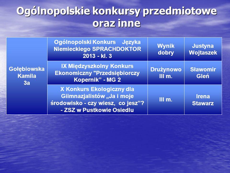 Ogólnopolskie konkursy przedmiotowe oraz inne Gołębiowska Kamila 3a Ogólnopolski Konkurs Języka Niemieckiego SPRACHDOKTOR 2013 - kl. 3 Wynik dobry Jus