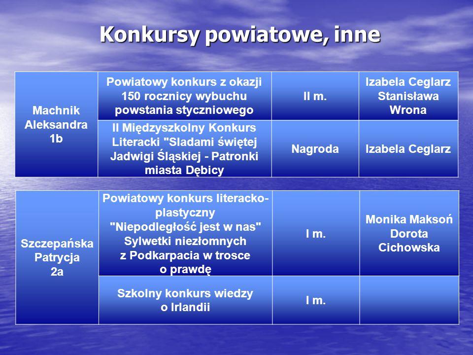 Konkursy powiatowe, inne Machnik Aleksandra 1b Powiatowy konkurs z okazji 150 rocznicy wybuchu powstania styczniowego II m. Izabela Ceglarz Stanisława