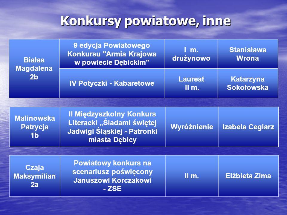 Konkursy powiatowe, inne Białas Magdalena 2b 9 edycja Powiatowego Konkursu