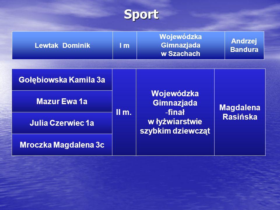 Sport Lewtak DominikI m Wojewódzka Gimnazjada w Szachach Andrzej Bandura Gołębiowska Kamila 3a II m. Wojewódzka Gimnazjada -finał w łyżwiarstwie szybk