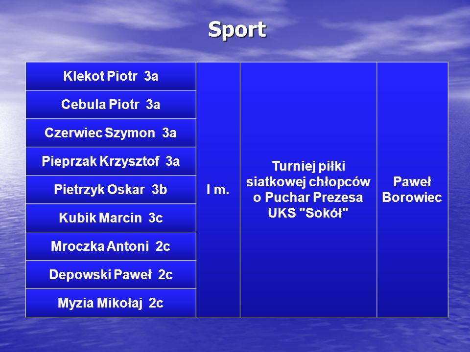 Sport Klekot Piotr 3a I m. Turniej piłki siatkowej chłopców o Puchar Prezesa UKS
