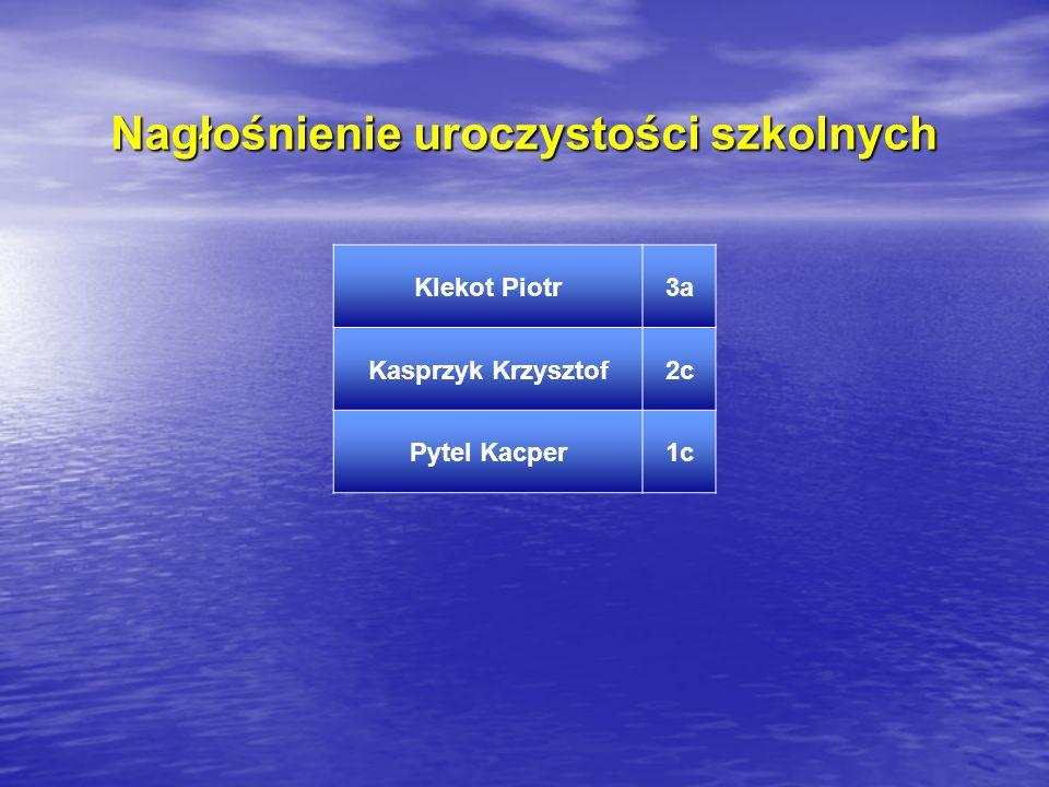 Nagłośnienie uroczystości szkolnych Klekot Piotr3a Kasprzyk Krzysztof2c Pytel Kacper1c