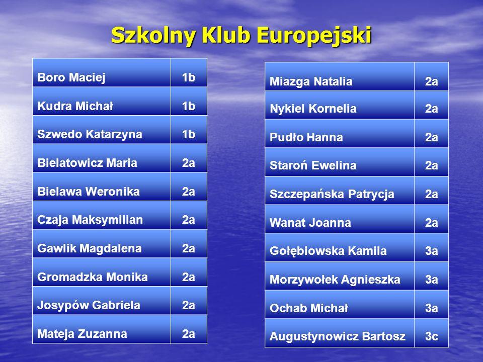 Szkolny Klub Europejski Boro Maciej1b Kudra Michał1b Szwedo Katarzyna1b Bielatowicz Maria2a Bielawa Weronika2a Czaja Maksymilian2a Gawlik Magdalena2a