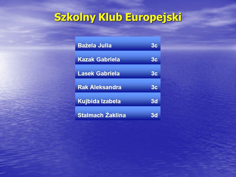 Szkolny Klub Europejski Bażela Julia3c Kazak Gabriela3c Lasek Gabriela3c Rak Aleksandra3c Kujbida Izabela3d Stalmach Żaklina3d