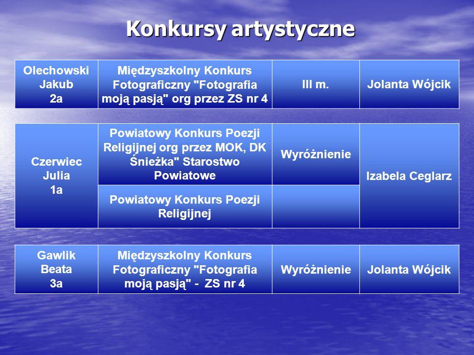 Konkursy artystyczne Czerwiec Julia 1a Powiatowy Konkurs Poezji Religijnej org przez MOK, DK Śnieżka