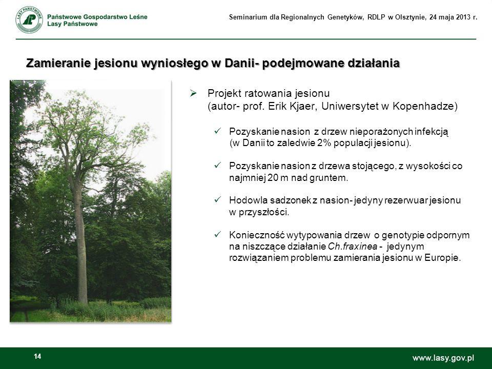 14 Zamieranie jesionu wyniosłego w Danii- podejmowane działania Projekt ratowania jesionu (autor- prof. Erik Kjaer, Uniwersytet w Kopenhadze) Pozyskan