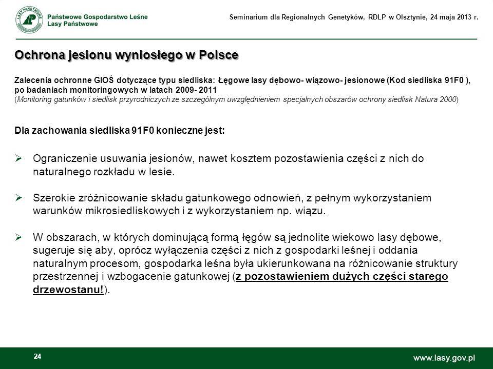 24 Ochrona jesionu wyniosłego w Polsce Ochrona jesionu wyniosłego w Polsce Zalecenia ochronne GIOŚ dotyczące typu siedliska: Łęgowe lasy dębowo- wiązo