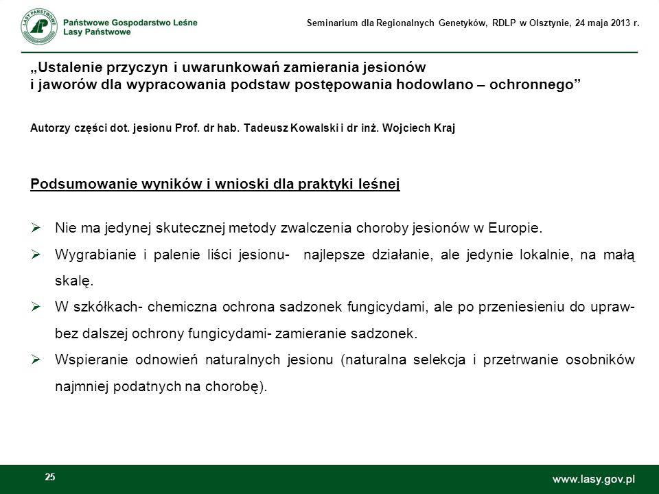 25 Autorzy części dot. jesionu Prof. dr hab. Tadeusz Kowalski i dr inż. Wojciech Kraj Podsumowanie wyników i wnioski dla praktyki leśnej Nie ma jedyne