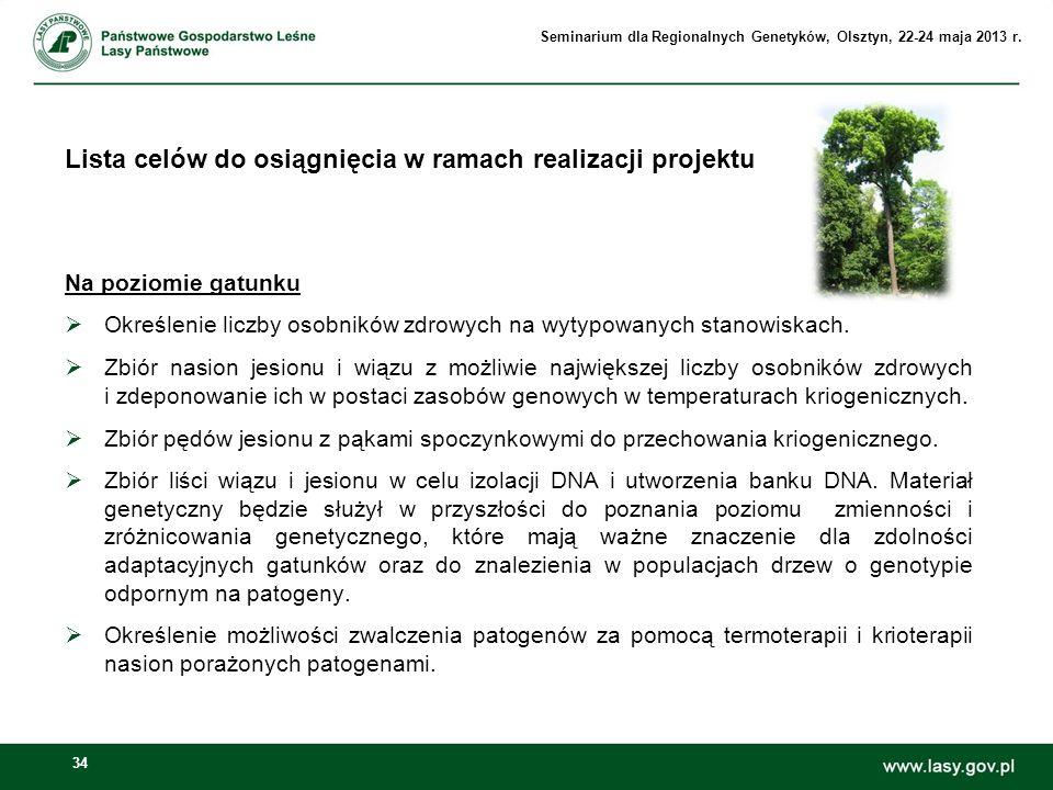 34 Lista celów do osiągnięcia w ramach realizacji projektu Na poziomie gatunku Określenie liczby osobników zdrowych na wytypowanych stanowiskach. Zbió