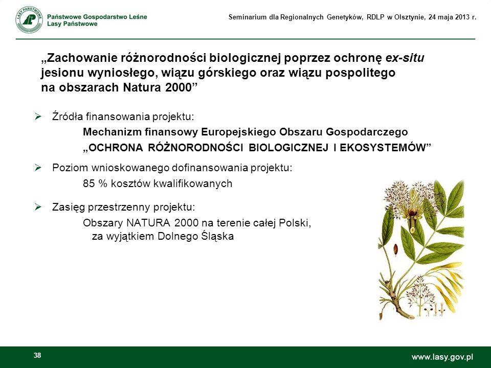 38 Zachowanie różnorodności biologicznej poprzez ochronę ex-situ jesionu wyniosłego, wiązu górskiego oraz wiązu pospolitego na obszarach Natura 2000 Ź