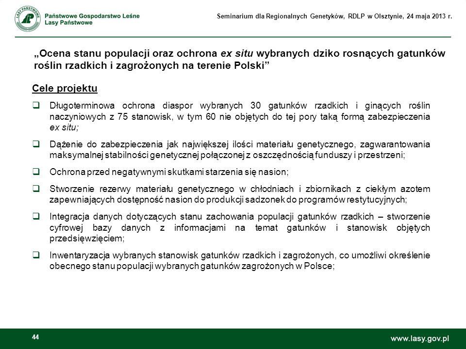 44 Ocena stanu populacji oraz ochrona ex situ wybranych dziko rosnących gatunków roślin rzadkich i zagrożonych na terenie Polski Cele projektu Długote