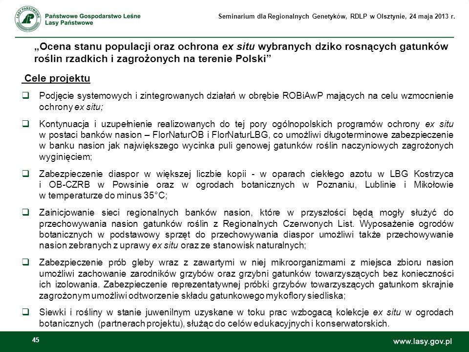 45 Ocena stanu populacji oraz ochrona ex situ wybranych dziko rosnących gatunków roślin rzadkich i zagrożonych na terenie Polski Cele projektu Podjęci