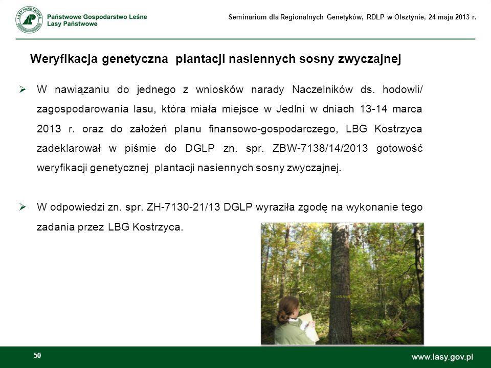 50 W nawiązaniu do jednego z wniosków narady Naczelników ds. hodowli/ zagospodarowania lasu, która miała miejsce w Jedlni w dniach 13-14 marca 2013 r.