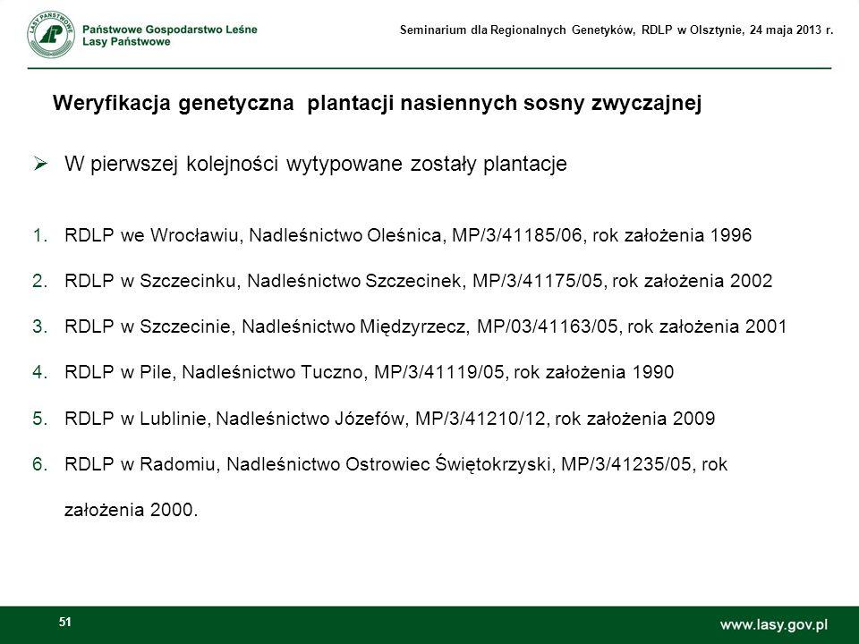 51 W pierwszej kolejności wytypowane zostały plantacje 1.RDLP we Wrocławiu, Nadleśnictwo Oleśnica, MP/3/41185/06, rok założenia 1996 2.RDLP w Szczecin