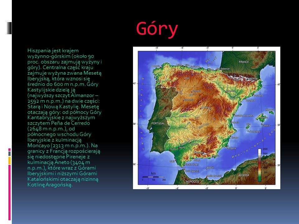 Góry Hiszpania jest krajem wyżynno-górskim (około 90 proc. obszaru zajmują wyżyny i góry). Centralna część kraju zajmuje wyżyna zwana Mesetą Iberyjską