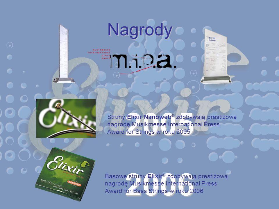 Nagrody 2006 Basowe struny Elixir ® zdobywają prestiżową nagrodę Musikmesse International Press Award for Bass Strings w roku 2006 2005 Struny Elixir
