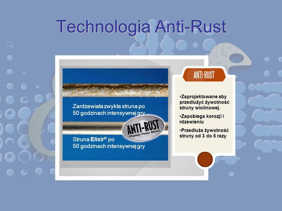 Technologia Anti-Rust Zardzewiała zwykła struna po 50 godzinach intensywnej gry Struna Elixir ® po 50 godzinach intensywnej gry Zaprojektowane aby prz