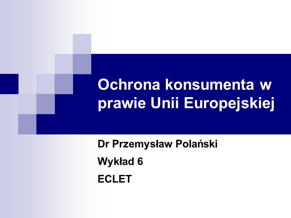 ECLET 200632 Dr Przemysław Polański Ogólna charakterystyka Prawo UE charakteryzuje się nałożeniem wielu obowiązków informacyjnych na usługodawców Obowiązki te dotyczą przede wszystkim samego produktu a także usługodawcy Sankcją za niewywiązanie się z tego obowiązku jest wydłużenie okresu w którym konsument może odstąpić od umowy Najbardziej rozbudowane są obowiązki informacyjne w sektorze usług finansowych i dlatego zostaną osobno omówione