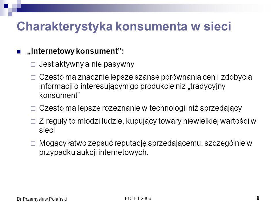 ECLET 200659 Dr Przemysław Polański Dyrektywa o marketingu usług finansowych Określa ramy prawne dla sprzedaży usług finansowych na odległość Ustanawia rozbudowane obowiązki informacyjne przed zawarciem umowy (dostawca, usługa, umowa, odwołania) Nakłada obowiązek przedstawienia informacji na trwałym nośniku przed zawarciem umowy Gwarantuje prawo odstąpienia od umowy Ustanawia zasady unieważnienia płatności kartą Reguluje kwestię dostaw niezamówionych Wymaga uprzedniej zgody na kontakt za pomocą telefaksu i automatycznych urządzeń