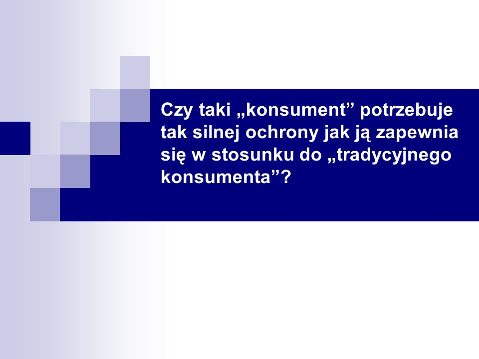 ECLET 200670 Dr Przemysław Polański Wyłączenia od odstąpienia od umowy (II) Prawa odstąpienia nie stosuje się do: a) usług finansowych, których cena zależy od wahań na rynku finansowym leżących poza kontrolą dostawcy, które mogą wystąpić w okresie odstąpienia, takie usługi jak związane z: wymianą walut; instrumentami rynku pieniężnego; zbywalnymi papierami wartościowymi; jednostkami uczestnictwa w przedsiębiorstwach zbiorowego inwestowania; umowami finansowymi typu futures, w tym równoważnymi instrumentami rozliczanymi w gotówce; terminowymi umowami na przyszłe stopy procentowe (FRA); swapami stopy procentowej, walutowymi i akcyjnymi; opcjami nabywania lub zbywania wszelkich instrumentów, określonych w niniejszej literze, w tym równoważnymi instrumentami rozliczanymi w gotówce; ta kategoria obejmuje w szczególności opcje walutowe i opcje na stopy procentowe; b) polis ubezpieczeniowych na podróż i bagaż lub podobnych krótkoterminowych polis o okresie ważności krótszym niż jeden miesiąc; c) umów, których wykonanie zostało już w pełni zakończone przez obie strony na wyraźne życzenie konsumenta zanim konsument wykona prawo odstąpienia.