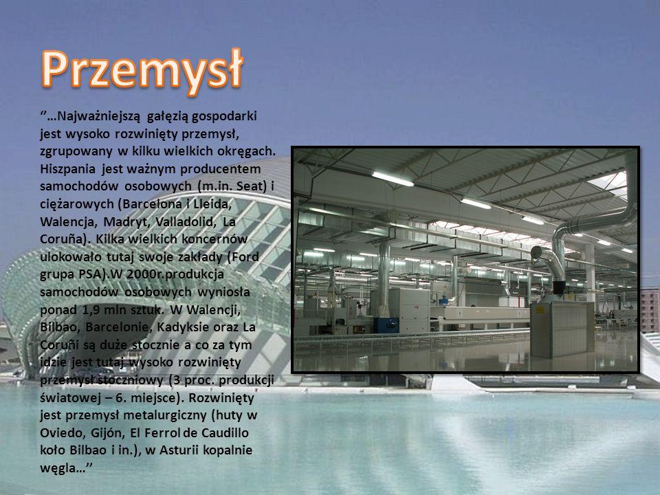 …Najważniejszą gałęzią gospodarki jest wysoko rozwinięty przemysł, zgrupowany w kilku wielkich okręgach.