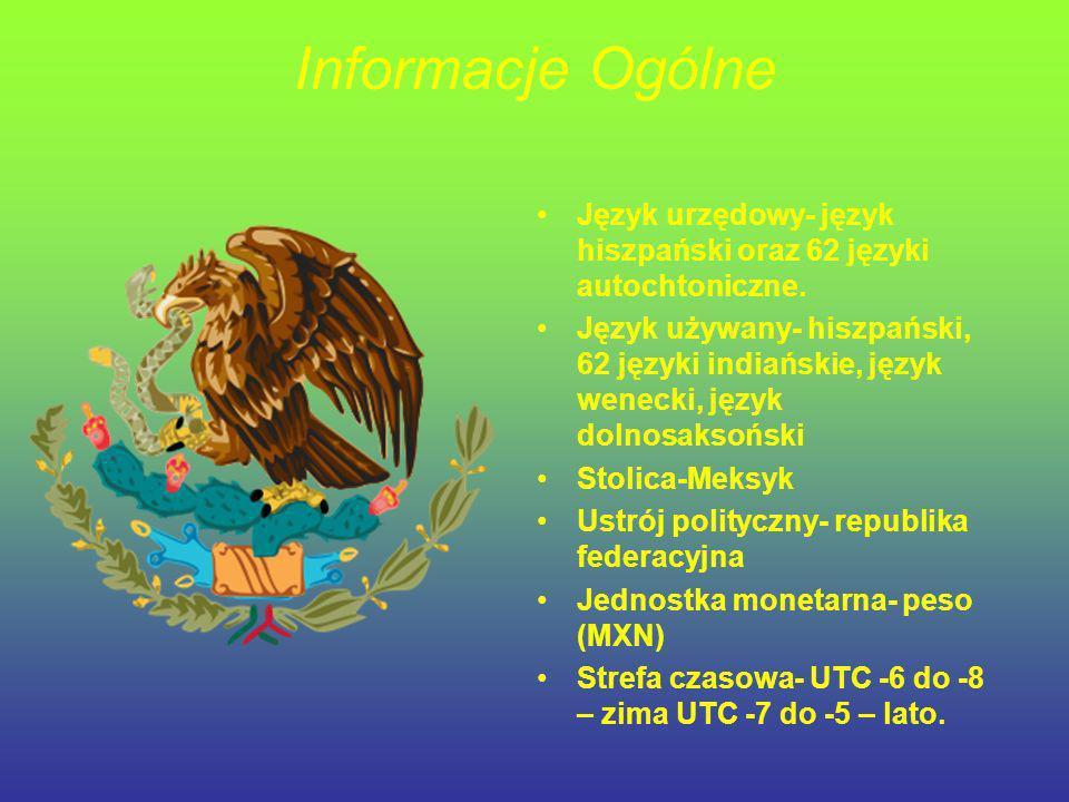 Informacje Ogólne Język urzędowy- język hiszpański oraz 62 języki autochtoniczne. Język używany- hiszpański, 62 języki indiańskie, język wenecki, języ