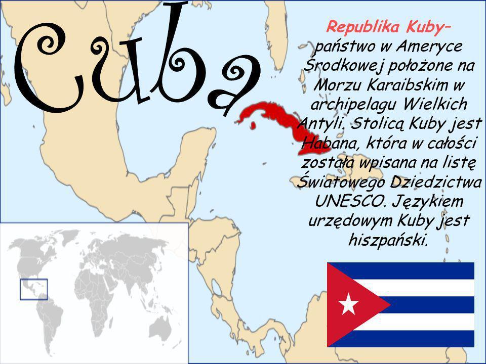 Republika Kuby– państwo w Ameryce Środkowej położone na Morzu Karaibskim w archipelagu Wielkich Antyli. Stolicą Kuby jest Habana, która w całości zost