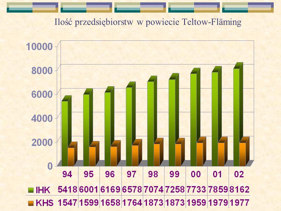 Ilość przedsiębiorstw w powiecie Teltow-Fläming