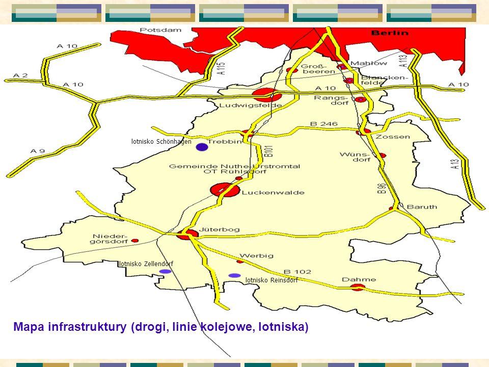 . Mapa infrastruktury (drogi, linie kolejowe, lotniska) lotnisko Schönhagen lotnisko Zellendorf lotnisko Reinsdorf